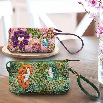 ビーズ刺繍5層式お財布ポーチ(革持ち手付き)