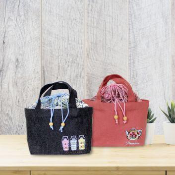 プラナカン刺繍付きトートバッグ (S)(バティック内布付き)