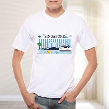 カップタン マーライオン ブルー Tシャツ