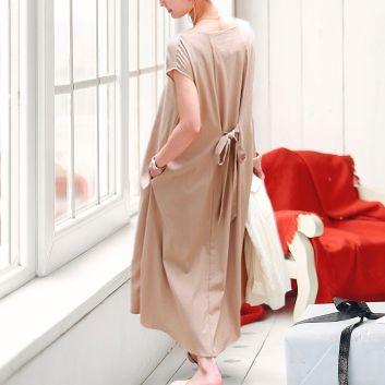 フレンチスリーブフレアワンピースドレス