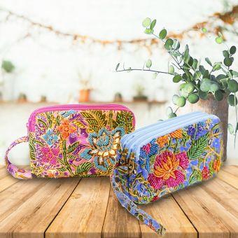 ビーズ刺繍ポーチ(3層式)