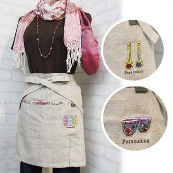 リネン刺繍カフェエプロン
