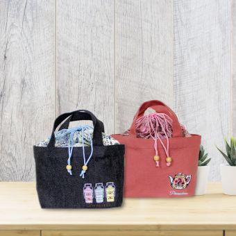 キャンバストートバッグ刺繍(バティック布付き)