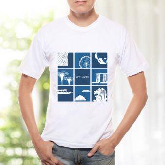 メンズTシャツ - シンガポール・グリッド