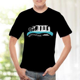 メンズTシャツ -  シンガポールスカイライン(青)