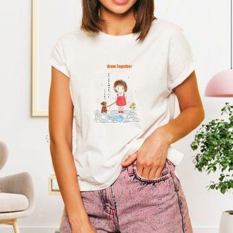 ワンちゃんと女の子Tシャツ