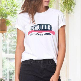 レディースTシャツ -  シンガポールスカイライン( ピンク)